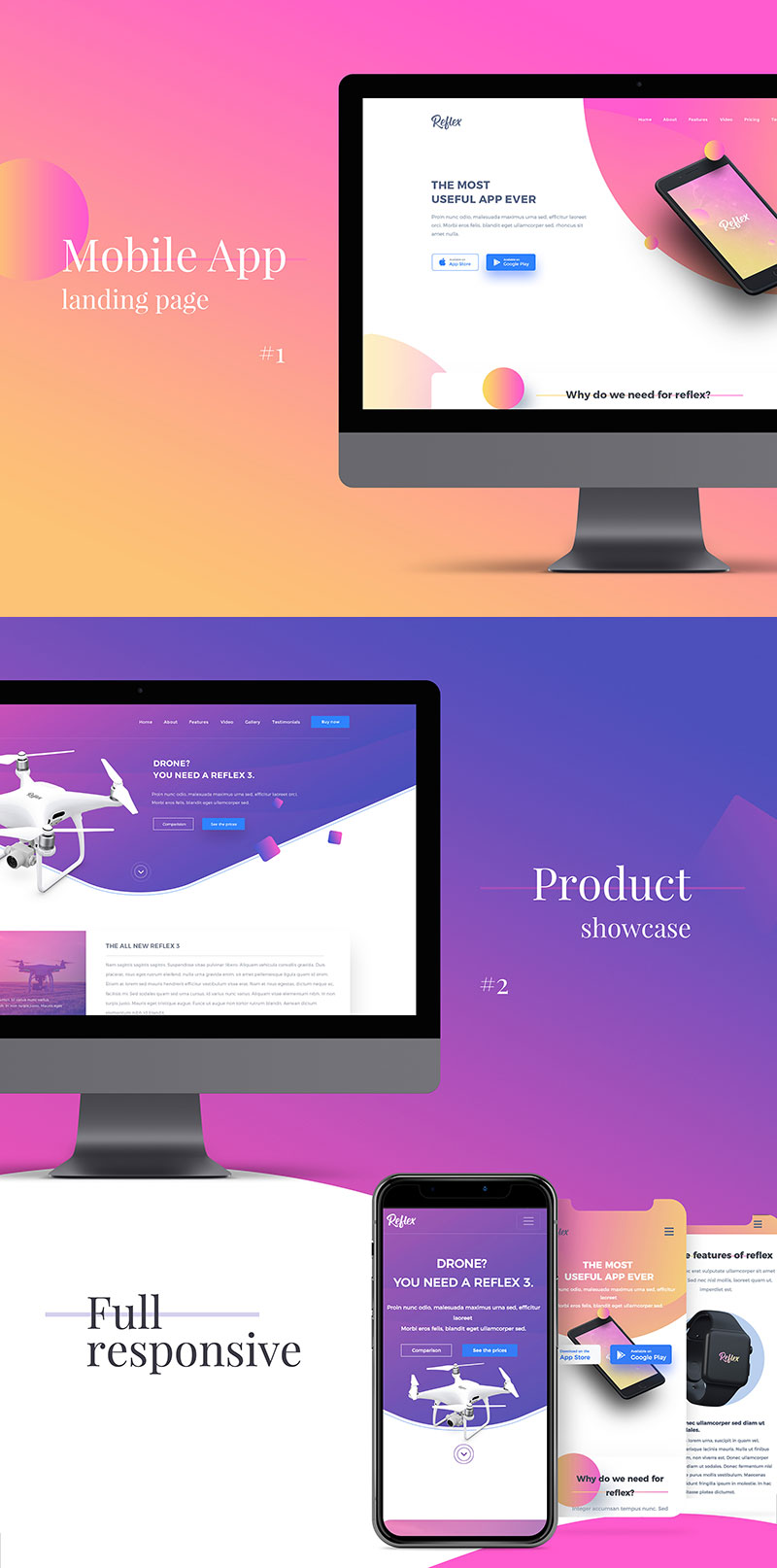 reflex- app landing page & product showcase